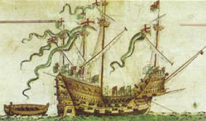 Mary Rose depicted on the Anthony Roll, a survey of Henry VIII's navy, completed in 1546